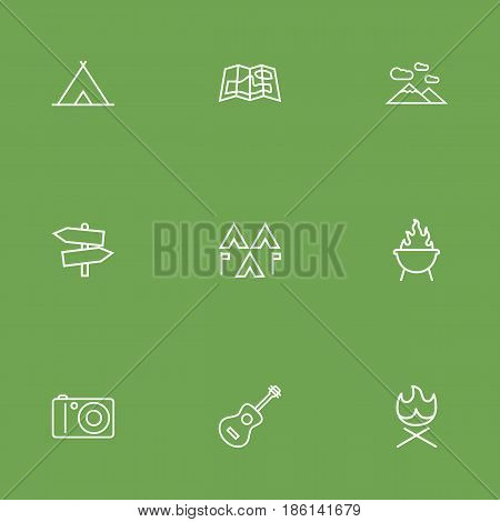 Set Of 9 Outdoor Outline Icons Set.Collection Of Guidepost, Guitar, Photographing And Other Elements.