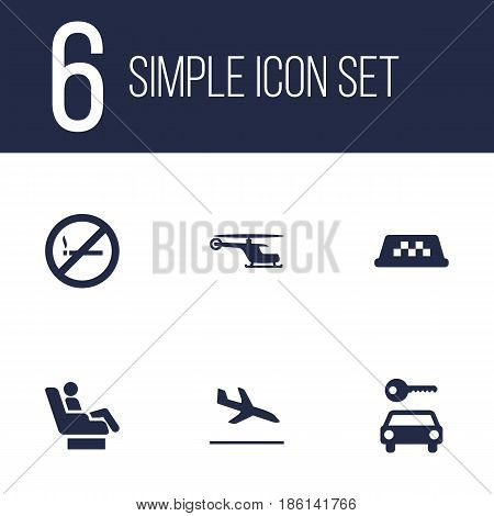 Set Of 6 Aircraft Icons Set.Collection Of Chopper, Vip, Forbidden And Other Elements.