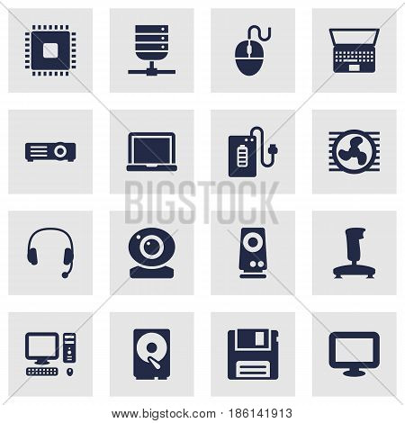 Set Of 16 Computer Icons Set.Collection Of Amplifier, Hard Disk, Record And Other Elements.