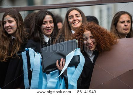 PORTO, PORTUGAL - MAY 9, 2017: Participants of Queima Das Fitas Parade - traditional festivity of students of Portuguese universities. Porto's Queima was the first to be reborn after the 1974 revolution.