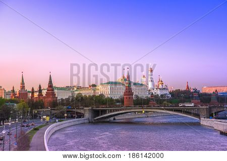 Evening mood Moscow, view of the Moscow Kremlin, Russia. Sunset in the spring.