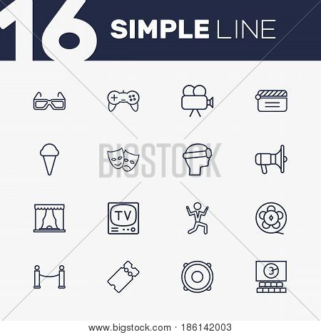 Set Of 16 Pleasure Outline Icons Set.Collection Of Bullhorn, Vr Helmet, Masks And Other Elements.
