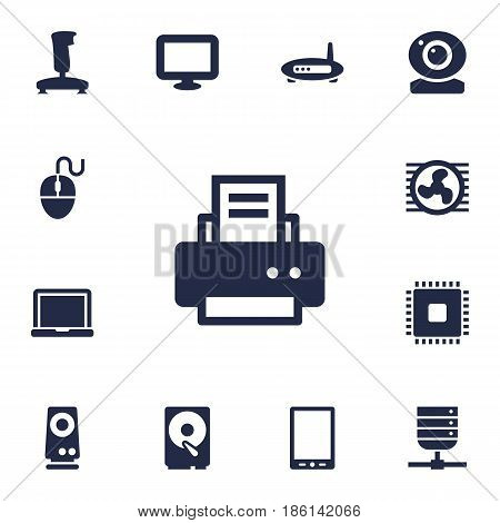 Set Of 13 Laptop Icons Set.Collection Of Display, Joystick, Router And Other Elements.