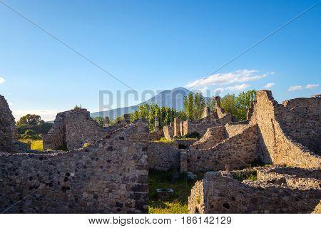 Landscape View Of Ancient Pompeii Town With Vesuvius Volcano