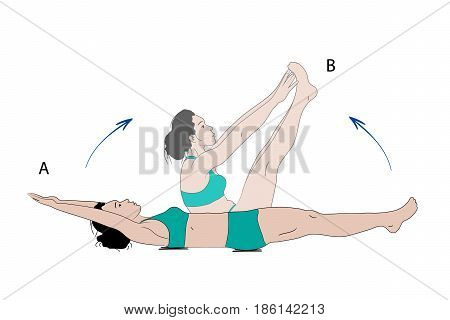 Vector Illustration of sporty woman making crunches exercise