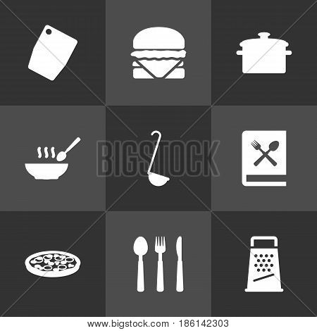 Set Of 9 Culinary Icons Set.Collection Of Pepperoni, Kitchen Rasp, Cutting Surface And Other Elements.