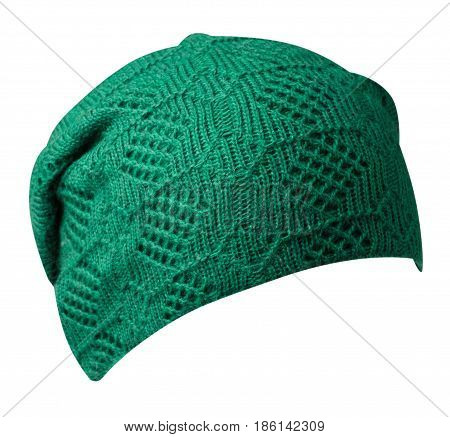 Women's Hat . Knitted Hat Isolated On White Background .green Hat