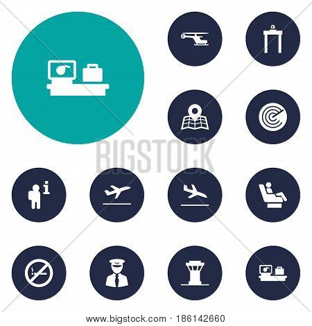 Set Of 12 Land Icons Set.Collection Of Air Traffic Controller, Vip, Aviator And Other Elements.