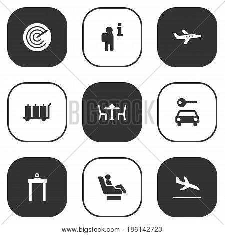 Set Of 9 Land Icons Set.Collection Of Letdown, Metal Detector, Data And Other Elements.