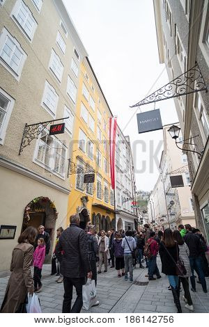 Salzburg, Austria - 14 April 2017 : Mozarts Geburtshaus Or Birthplace Of Wolfgang Amadeus Mozart In