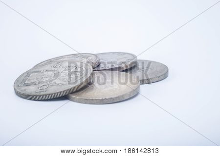Vintage Old Pocket Change Coins Isolated On White Background