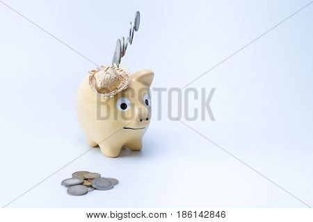 Brown Country Piggy Saving Bank Moneybox With Coins In The Front And Falling From The Top Isolated O