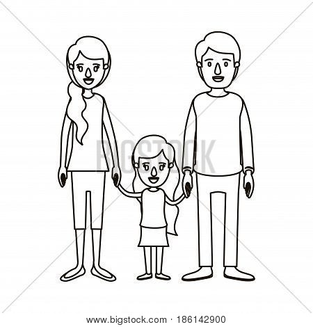 silhouette caricature family with young father and mom with side ponytail hair with little girl taken hands vector illustration