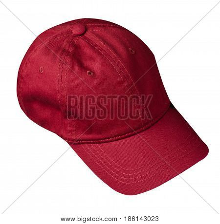 Hat Isolated On White Background. Hat With A Visor.dark Red Hat