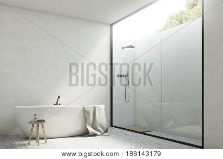 Corner of a white bathroom interior with white walls a tub standing near it and a shower with a glass wall. 3d rendering mock up