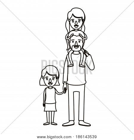 silhouette caricature dad with daugther on his back and girl taken hands vector illustration
