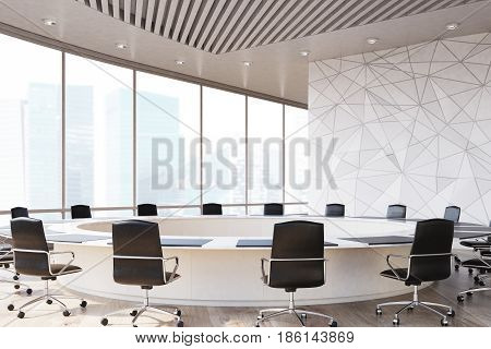 Conference room interior with a round table black office chairs near it a marble wall and a panoramic window. 3d rendering mock up
