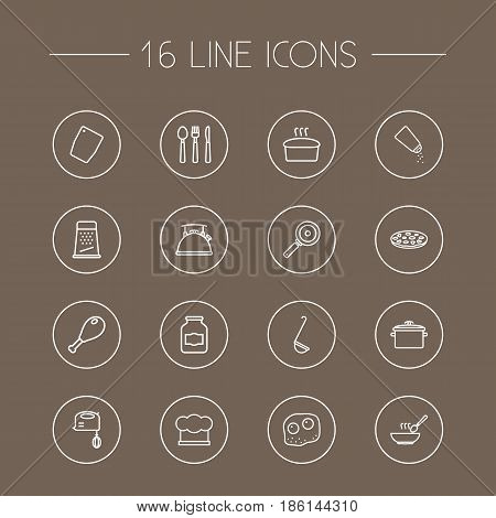 Set Of 16 Kitchen Outline Icons Set.Collection Of Chopping Board, Salt, Skillet And Other Elements.