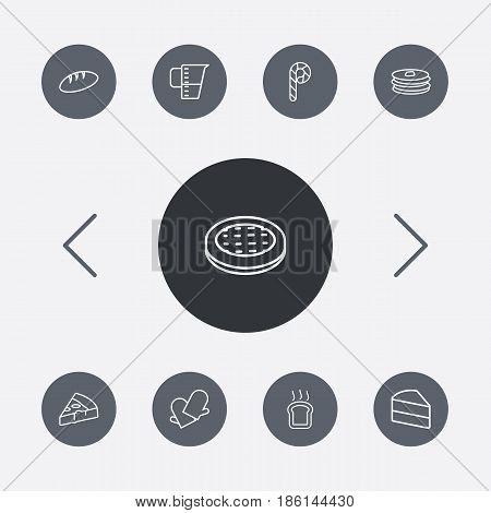 Set Of 9 Oven Outline Icons Set.Collection Of Bread, Apple Pie, Cake And Other Elements.