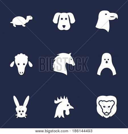 Set Of 9 Alive Icons Set.Collection Of Lamb, Steed, Bunny And Other Elements.