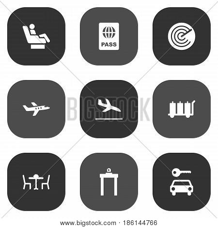 Set Of 9 Land Icons Set.Collection Of Vip, Carriage, Letdown And Other Elements.