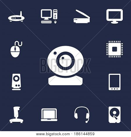 Set Of 13 Laptop Icons Set.Collection Of Photocopy, Joystick, Control Device And Other Elements.