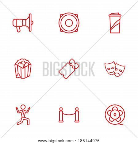 Set Of 9 Amusement Outline Icons Set.Collection Of Film Role, Barrier Rope, Ticket And Other Elements.