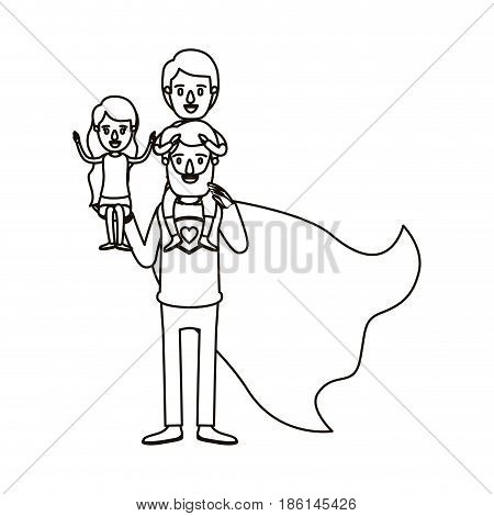 silhouette cartoon full body super dad hero with girl on his hand and boy on his back vector illustration