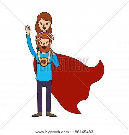 colorful silhouette cartoon full body super dad hero with girl on his back vector illustration