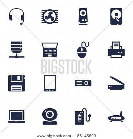Set Of 16 Computer Icons Set.Collection Of Show, Record, Notebook And Other Elements.