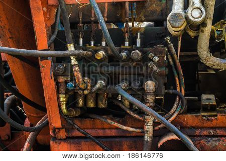 Hydraulic Fittings And Levers Machine On Control Panel