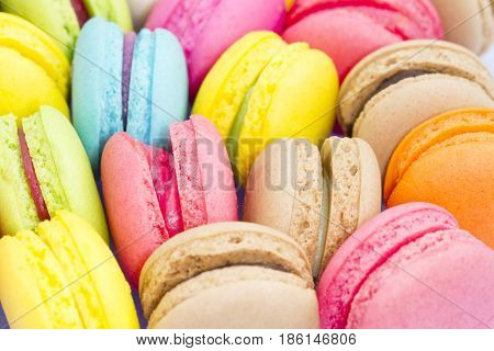 Colorful French Macarons , Sweet And Colorful Dessert.