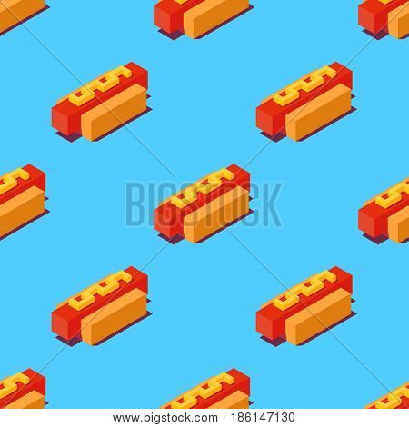 Seamless pattern of stylized cubic hot dogs on blue background. Retro design concept, Clipping mask used.