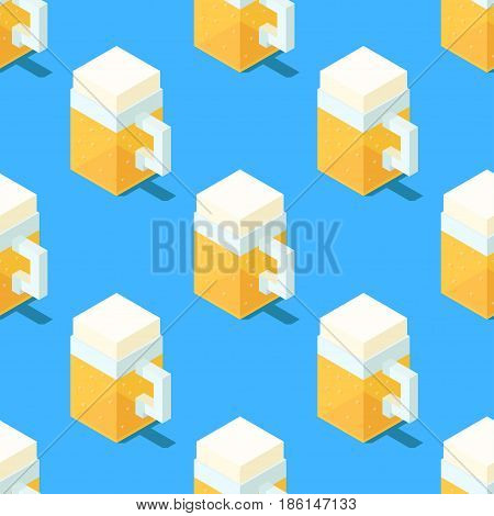 Seamless pattern of stylized cubic beer mugs on blue background. Retro design concept, Clipping mask used.