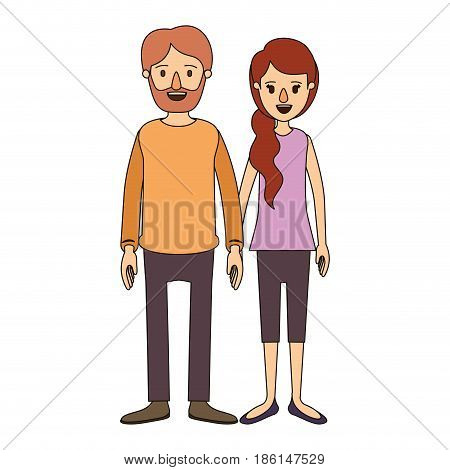 color image caricature full body couple woman with ponytail side hair and man in casual clothing vector illustration