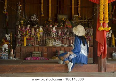 Thai Women People Visit And Respect Shrine Of Phi Kon Nam Or Tradition Of Ghost Carriage Water At Ba
