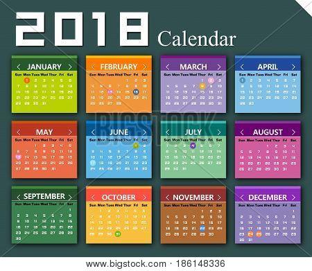 Vector Multicolor 2018 calendar background (EPS 10.0)