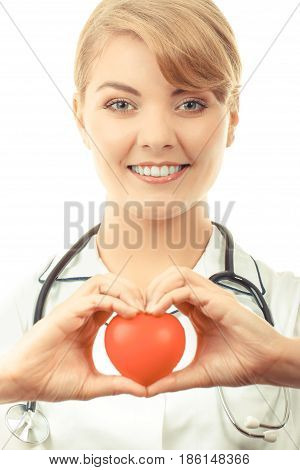 Woman Doctor With Stethoscope Holding Red Heart, Concept Of Health Care