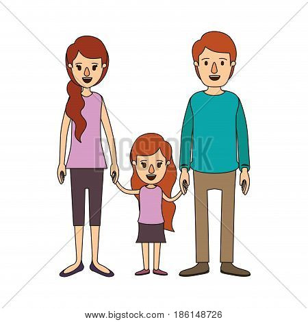 color image caricature family with young father and mom with side ponytail hair with little girl taken hands vector illustration
