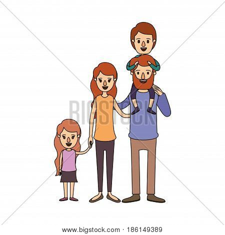 color image caricature big family parents with boy on his back and daugther taken hands vector illustration