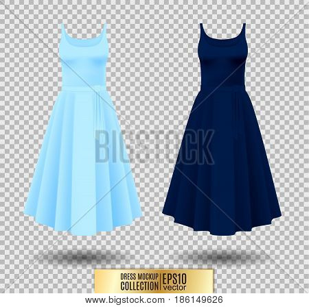 Women's dress mockup collection. Dress with long pleated skirt. Realistic vector illustration. Fully editable handmade mesh. Festive dress without sleeves. Light and dark blue variation.