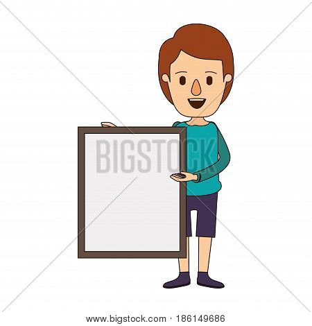 color image caricature full body man holding a square poster vector illustration