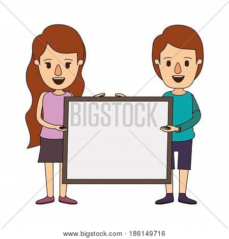 color image caricature full body couple holding a square poster vector illustration