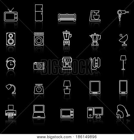 Household line icons with reflect on black background, stock vector