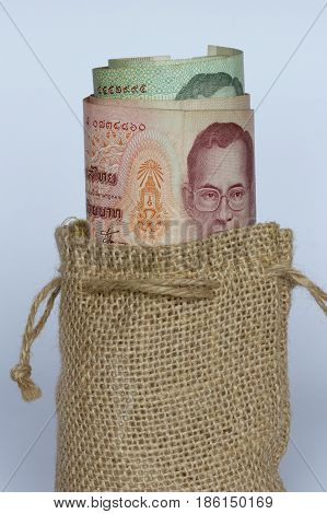 Five hundred Swedish kronor note in a bag.