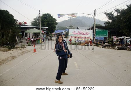 Travelers Thai Woman Posing At Entrance Way For Go To On Top Of Phu Tok Mountain