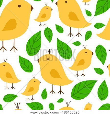 Seamless pattern vibrant branch with canary yellow bird vector illustration on white background. Spring design tropical exotic fashion textile garden branch decoration