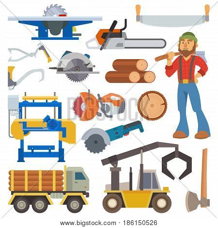 Sawmill woodcutter character logging equipment lumber machine industrial wood timber forest vector illustration. Lumberjack sawmill work machinery forestry transportation