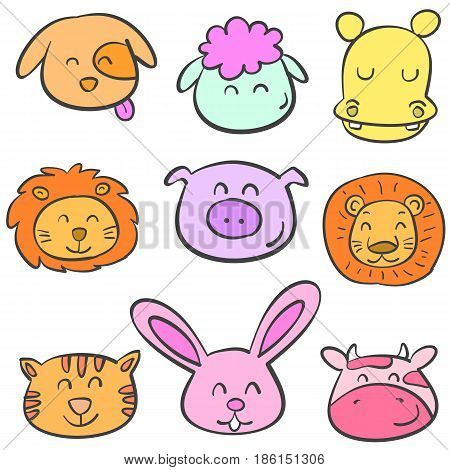Collection stock animal colorful doodles vector art