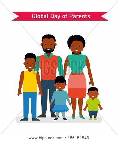 Global Day of Parents. Happy Parents with children. African Americans people. Flat vector illustration.